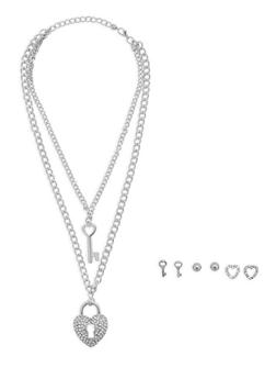 Heart and Key Necklace with Trio Earring Set - 3138072694375