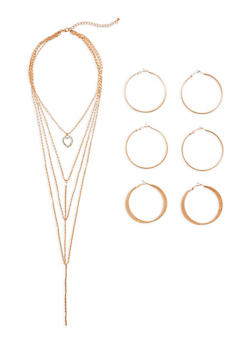Heart Layered Necklace with Hoop Earrings Set - 3138072694482