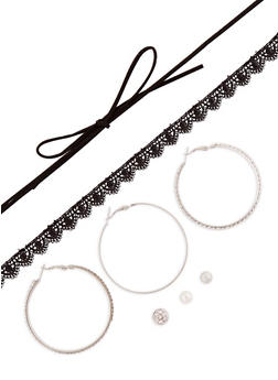 Choker Duo with Hoop and Stud Earrings Set - 3138072694605