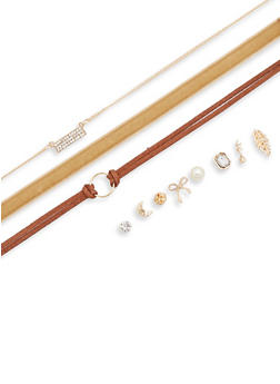 Trio Choker Set with Stud Earrings - 3138072694673
