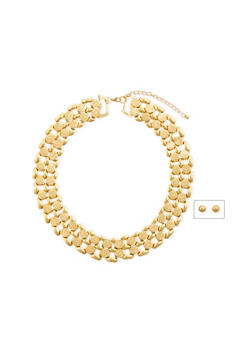 Stud Earrings and Collar Necklace Set - 3138072694706