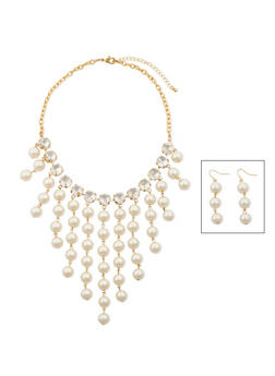 Bib Necklace and Chandelier Earrings with Faux Pearls and Crystals - 3138072694708