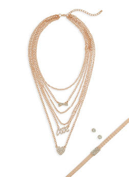 Metallic Mesh Choker and Layered Necklace with Stud Earrings Set - 3138072694742