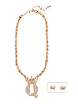 Rhinestone Crown Necklace and Stud Earrings Set - 3138072694858