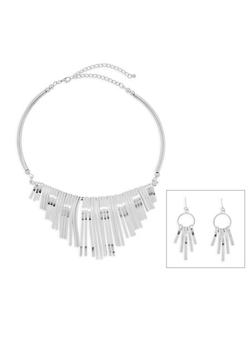 Metallic Collar Necklace and Drop Earrings Set - 3138072694938