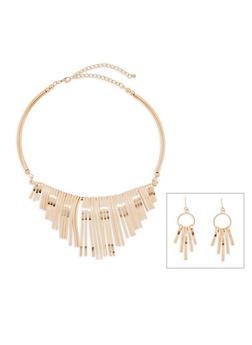 Metallic Collar Necklace and Drop Earrings Set - 3138072694938