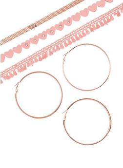 Heart Crochet Choker Trio with Hoop Earrings - 3138072695230