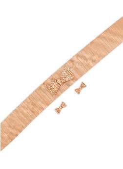 Metallic Mesh Bow Choker with Matching Stud Earrings - 3138072695277