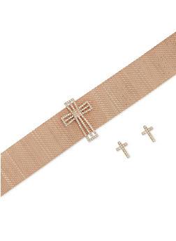 Cross Metallic Mesh Choker and Stud Earrings Set - 3138072695279