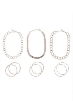 Textured Metallic Necklaces and Hoop Earrings Set - 3138072695299