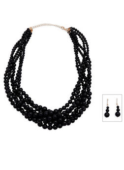 Multi Row Beaded Necklace and Drop Earrings - 3138072695350