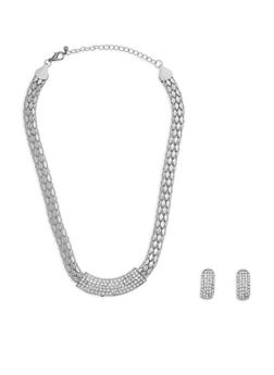 Metallic Rhinestone Necklace with Earrings - 3138072695750