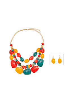 Large Multi Beaded Necklace and Drop Earrings - 3138072695752