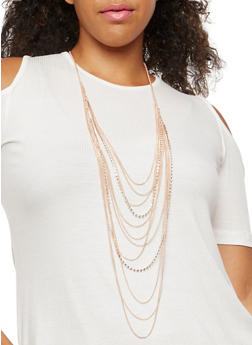 Rhinestone Layered Necklace and Stud Earrings Set - 3138072697033