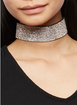 Wide Rhinestone Choker with Stud Earrings Set - 3138072697071