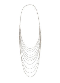 Long Layered Rhinestone and Chain Necklace - 3138072697787