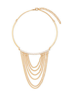 Collar Necklace with Crystal Accents and Tiered Chains - 3138073281331