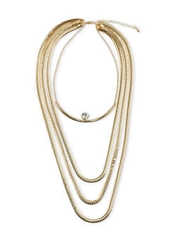 Tiered Necklace and Crystal Stud Set - 3138073282838
