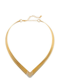 Tiered V Neck Collar Necklace with Crystal Accents - 3138073282840