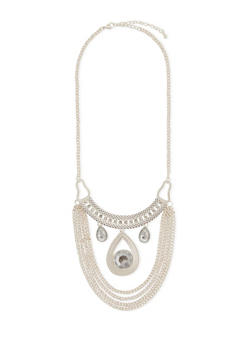 Bib Necklace with Crystal Embellishments - 3138073282849