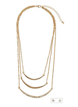 Stud Earrings and Layered Crescent Necklace Set - 3138073285405