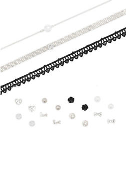 Choker Trio with 8 Assorted Earrings Set - 3138073844674