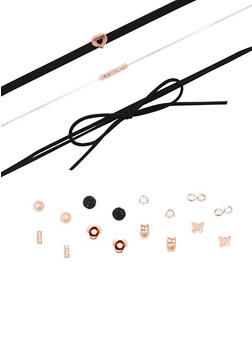 Choker Trio with 8 Assorted Earrings Set - 3138073844677