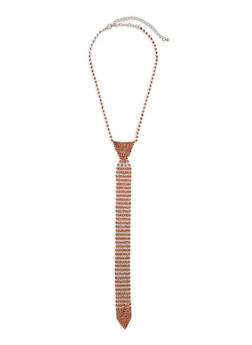 Rhinestone Tie Necklace - 3138074171801