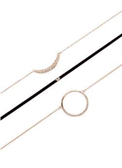 Trio Choker Necklace Set - 3138074175010