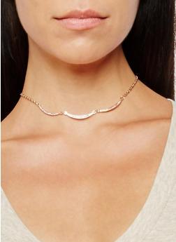 Faux Pearl Rhinestone Chokers with Hoop Earrings and Rings - 3138074175505