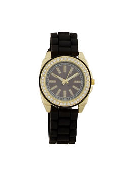 Watch with Crystal Hour Markers and Bezel - BLACK - 3140071430033