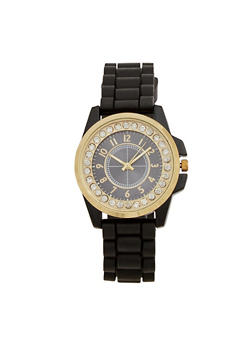 Rhinestone Bezel Watch with Rubber Chain Strap - 3140071430063
