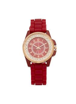 Rhinestone Bezel Watch with Rubber Chain Strap - 3140071430063