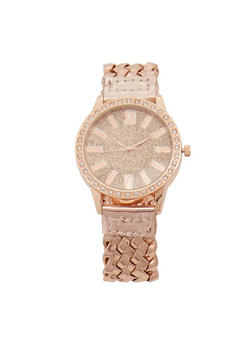 Glitter Woven Strap Watch - 3140071430081