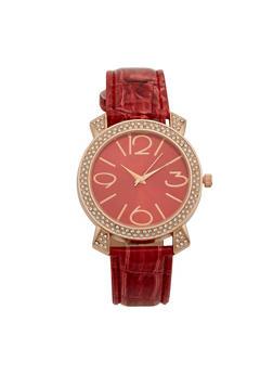 Rhinestone Bezel Watch with Faux Leather Strap - 3140071430103