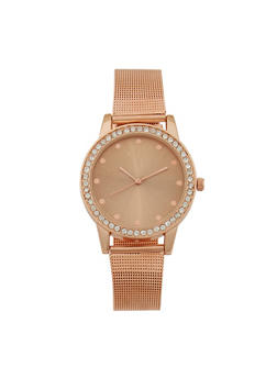 Rhinestone Bezel Watch with Metal Mesh Strap - 3140071430118