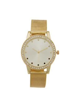 Rhinestone Bezel Watch with Metal Mesh Strap - 3140071430118