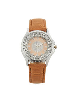 Rhinestone and Glitter Bezel Face Watch with Faux Leather Strap - 3140071430203
