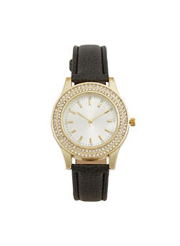Rhinestone Bezel Watch with Faux Leather Strap - 3140071430253