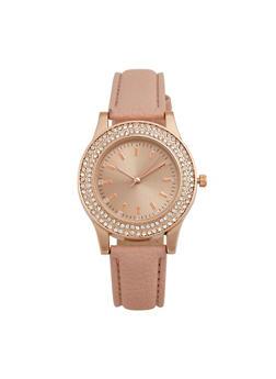 Rhinestone Bezel Watch with Faux Leather Strap - 3140071430253