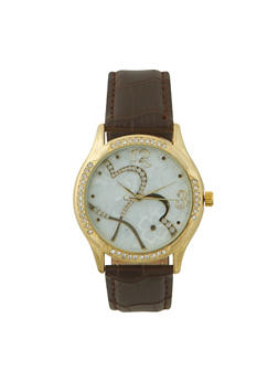 Hearts Dial Watch with Croc Embossed Strap - 3140071430291
