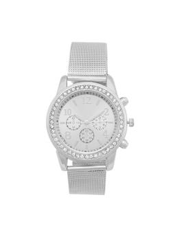 Rhinestone Bezel Watch with Metallic Mesh Strap - 3140071430381