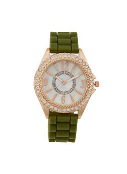 Rhinestone Bezel Number Watch with Rubber Strap - 3140071430582