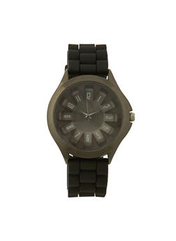 Watch with Metallic Bezel and Architectural Dial - BLACK - 3140071430916