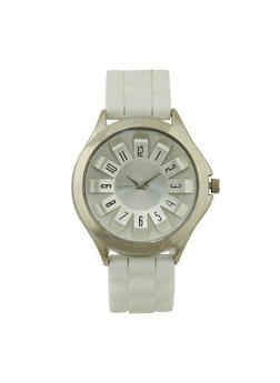 Watch with Metallic Bezel and Architectural Dial - WHITE - 3140071430916