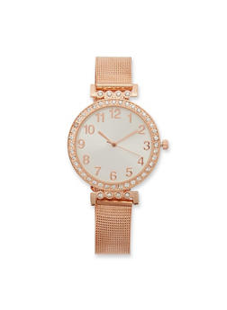 Rhinestone Number Watch with Metallic Mesh Strap - 3140071431058