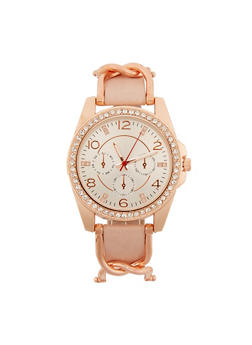Rhinestone Watch with Chain Detail Strap - 3140071431105