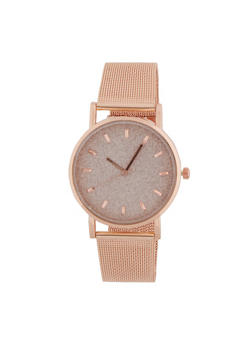 Glitter Face Watch with Metal Mesh Band - 3140071431148