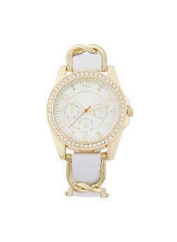 Rhinestone Bezel Faux Leather Watch - 3140071431152