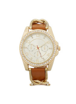 Rhinestone Bezel Faux Leather Watch - 3140071431152